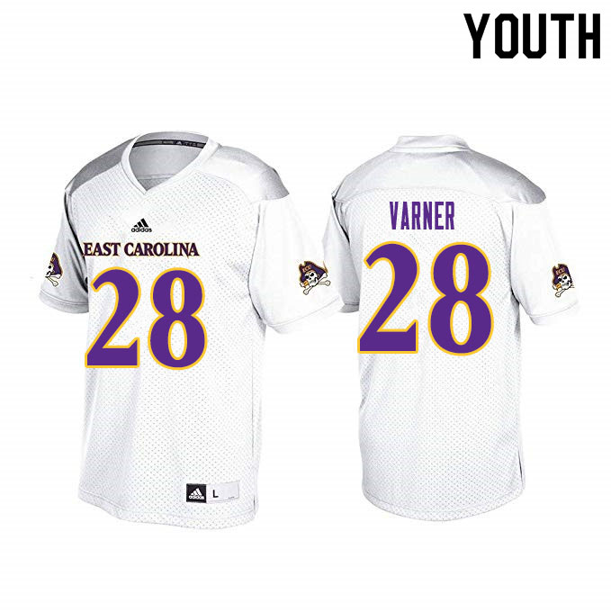 Youth #28 Ahonore Varner ECU Pirates College Football Jerseys Sale-White