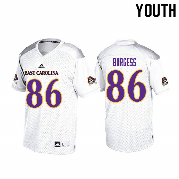Youth #86 Cole Burgess ECU Pirates College Football Jerseys Sale-White