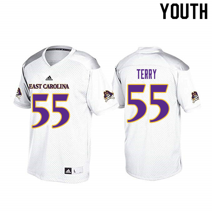 Youth #55 Dre'Shuwn Terry ECU Pirates College Football Jerseys Sale-White