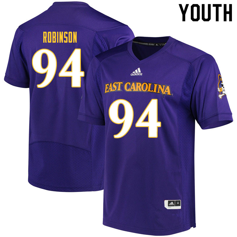 Youth #94 Elijah Robinson ECU Pirates College Football Jerseys Sale-Purple