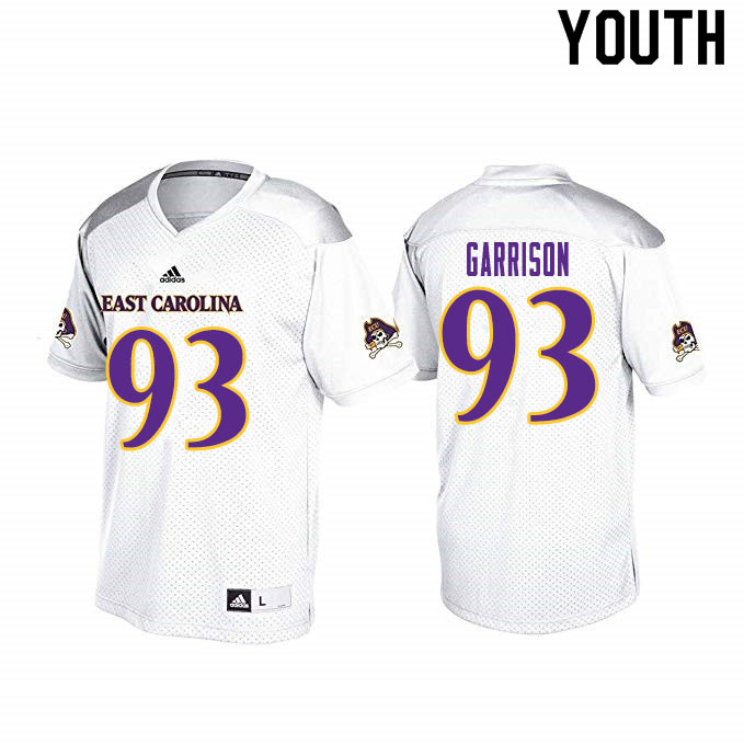 Youth #93 Henry Garrison ECU Pirates College Football Jerseys Sale-White