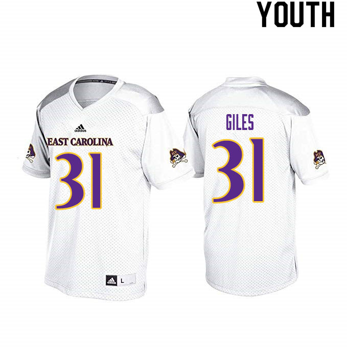 Youth #31 Seth Giles ECU Pirates College Football Jerseys Sale-White