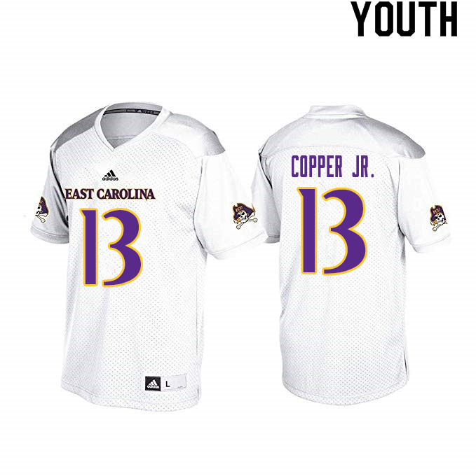 Youth #13 Terrance Copper Jr. ECU Pirates College Football Jerseys Sale-White