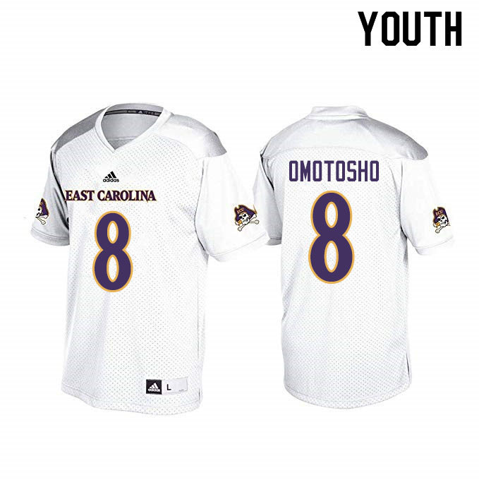 Youth #8 Audie Omotosho ECU Pirates College Football Jerseys Sale-White