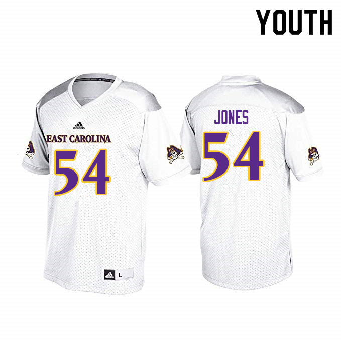 Youth #54 Avery Jones ECU Pirates College Football Jerseys Sale-White