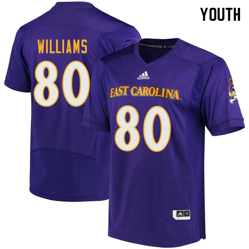 Youth #80 Bryce Williams East Carolina Pirates College Football Jerseys Sale-Purple