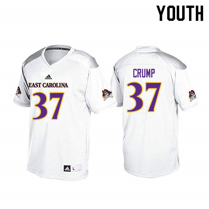Youth #37 C.J. Crump ECU Pirates College Football Jerseys Sale-White