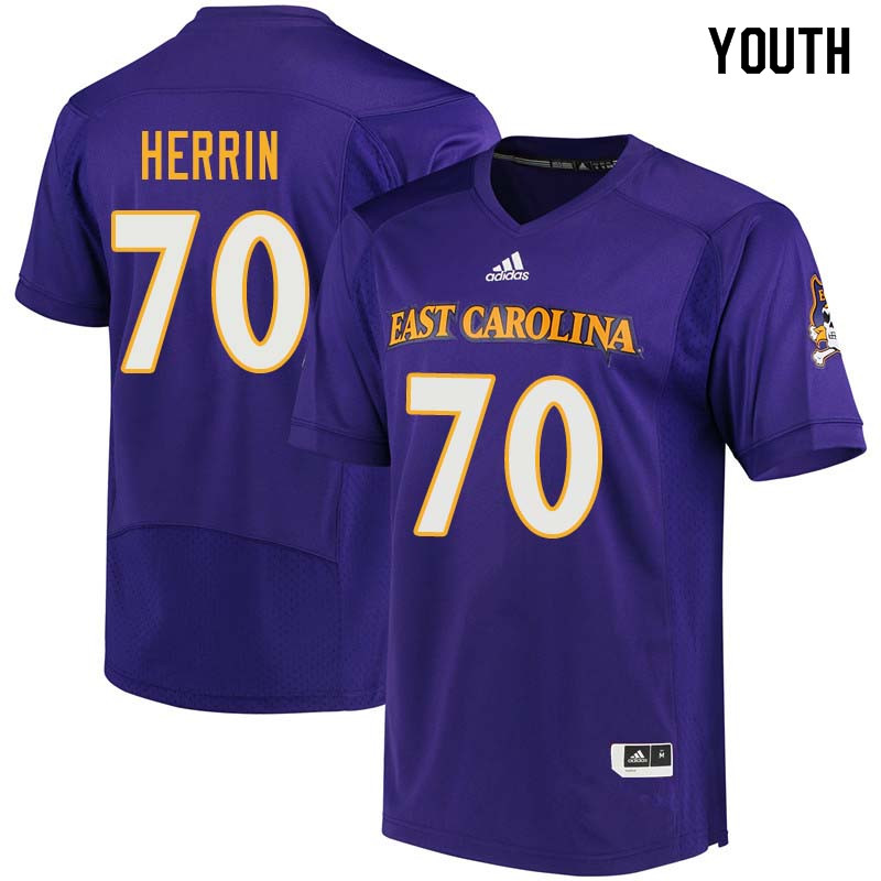 Youth #70 Cortez Herrin East Carolina Pirates College Football Jerseys Sale-Purple