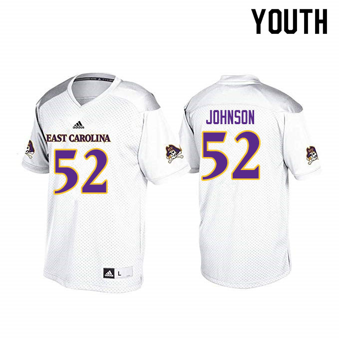 Youth #52 D'Anta Johnson ECU Pirates College Football Jerseys Sale-White