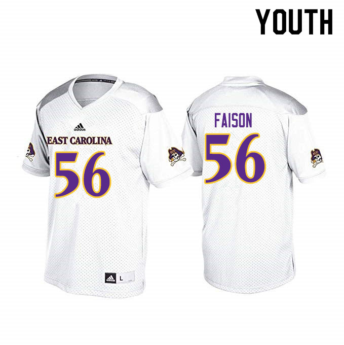 Youth #56 Damir Faison ECU Pirates College Football Jerseys Sale-White