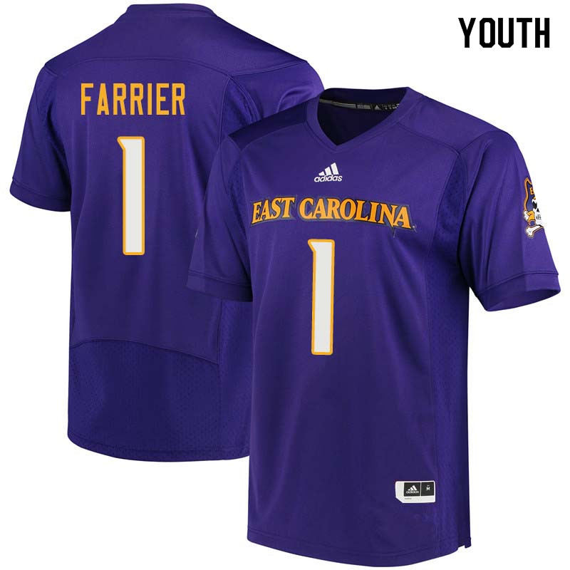 Youth #1 Deondre Farrier East Carolina Pirates College Football Jerseys Sale-Purple