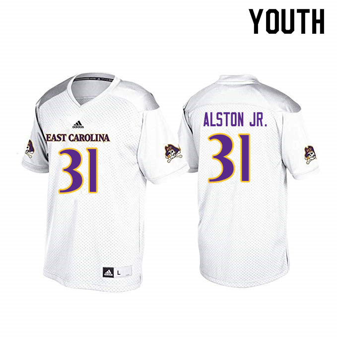 Youth #31 Derrick Alston Jr. ECU Pirates College Football Jerseys Sale-White