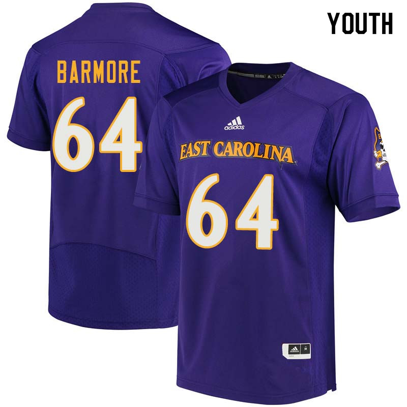 Youth #64 Des Barmore East Carolina Pirates College Football Jerseys Sale-Purple