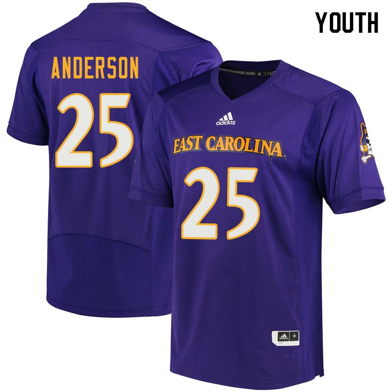 Youth #25 Devin Anderson East Carolina Pirates College Football Jerseys Sale-Purple