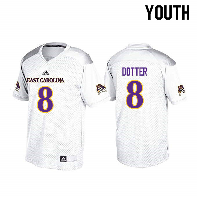 Youth #8 Dru Dotter ECU Pirates College Football Jerseys Sale-White