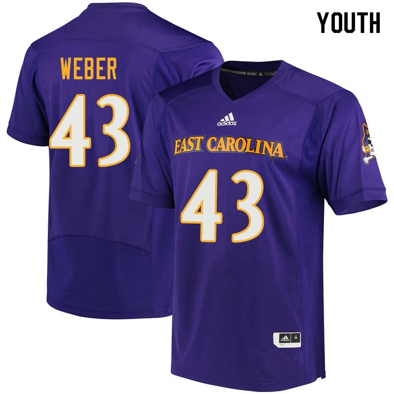Youth #43 Eric Weber East Carolina Pirates College Football Jerseys Sale-Purple