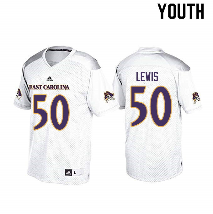 Youth #50 Grayson Lewis ECU Pirates College Football Jerseys Sale-White