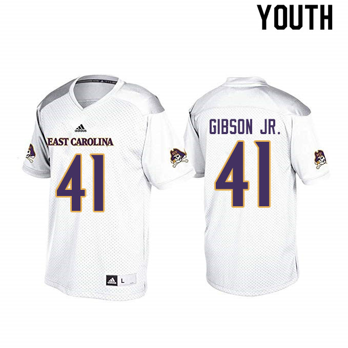 Youth #41 Hasan Gibson Jr. ECU Pirates College Football Jerseys Sale-White