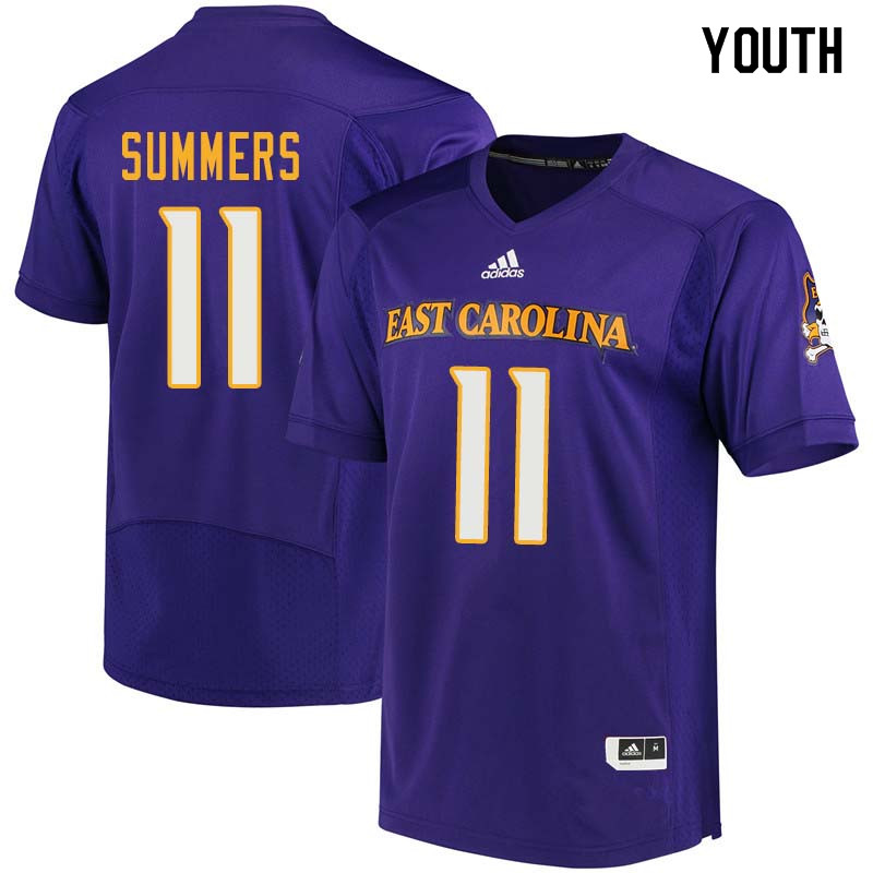 Youth #11 James Summers East Carolina Pirates College Football Jerseys Sale-Purple