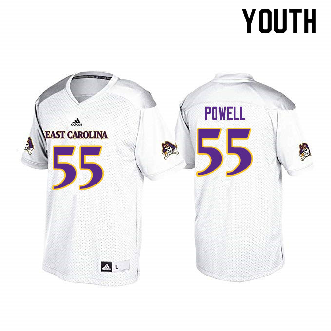 Youth #55 Jaquaez Powell ECU Pirates College Football Jerseys Sale-White