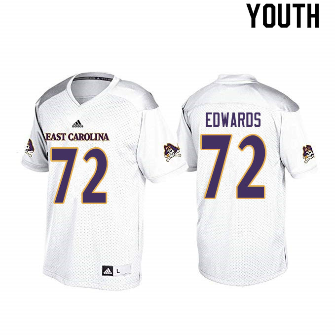 Youth #72 John Ross Edwards ECU Pirates College Football Jerseys Sale-White