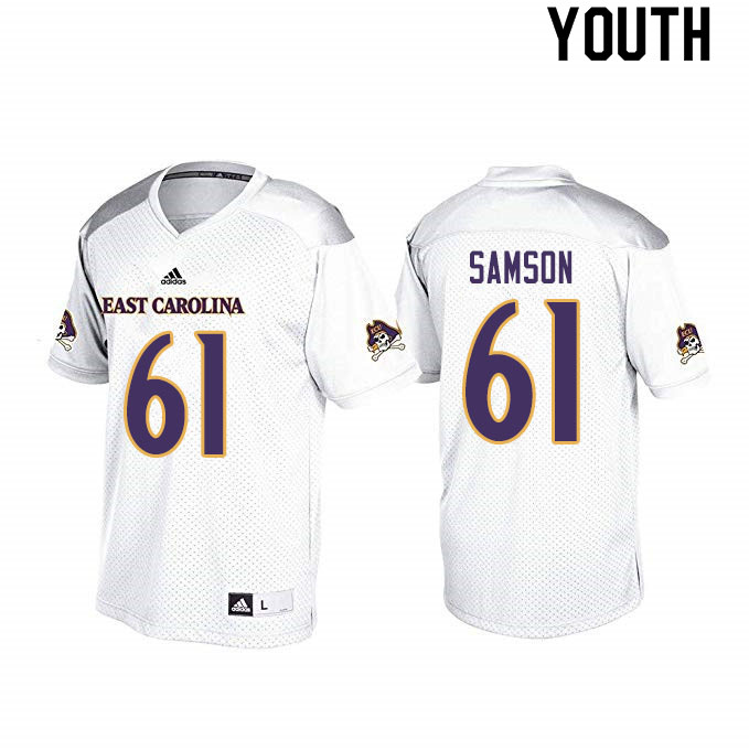 Youth #61 Joseph Samson ECU Pirates College Football Jerseys Sale-White
