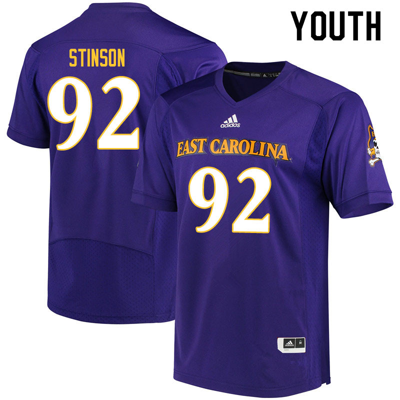 Youth #92 Kareem Stinson ECU Pirates College Football Jerseys Sale-Purple