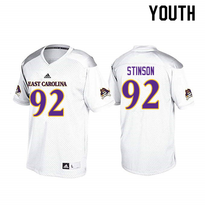 Youth #92 Kareem Stinson ECU Pirates College Football Jerseys Sale-White