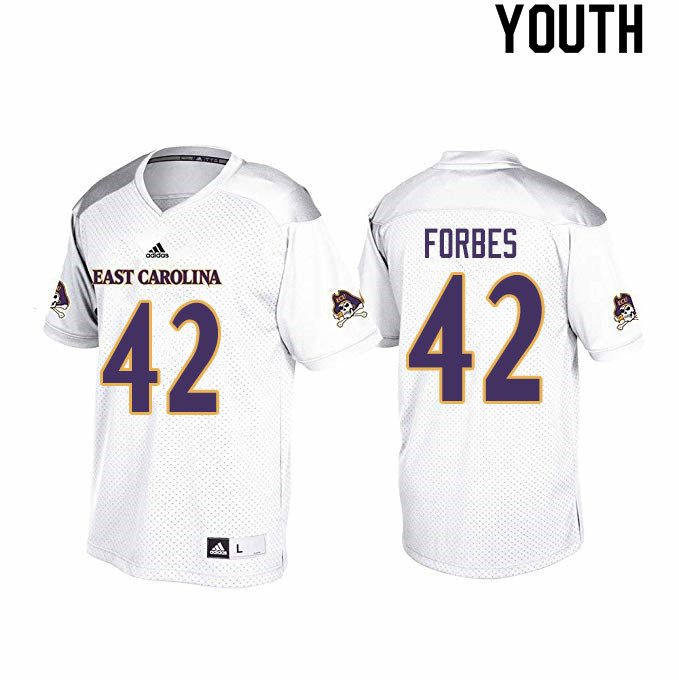 Youth #42 Keaton Forbes ECU Pirates College Football Jerseys Sale-White