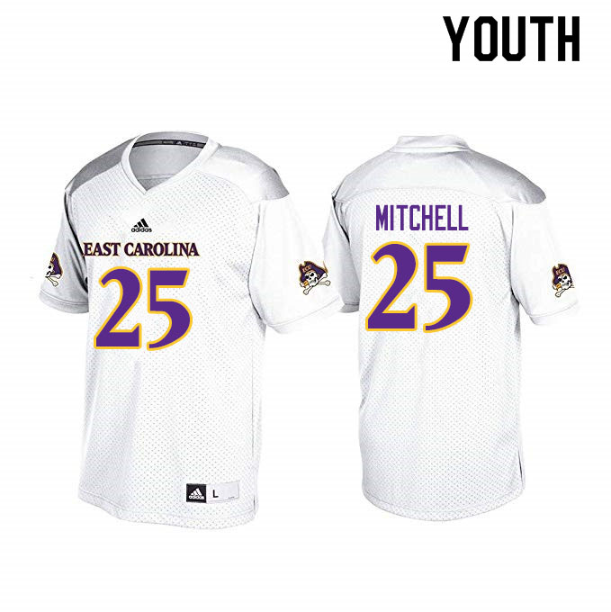 Youth #25 Keaton Mitchell ECU Pirates College Football Jerseys Sale-White