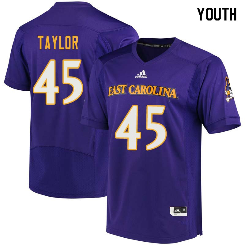 Youth #45 Kenyon Taylor East Carolina Pirates College Football Jerseys Sale-Purple