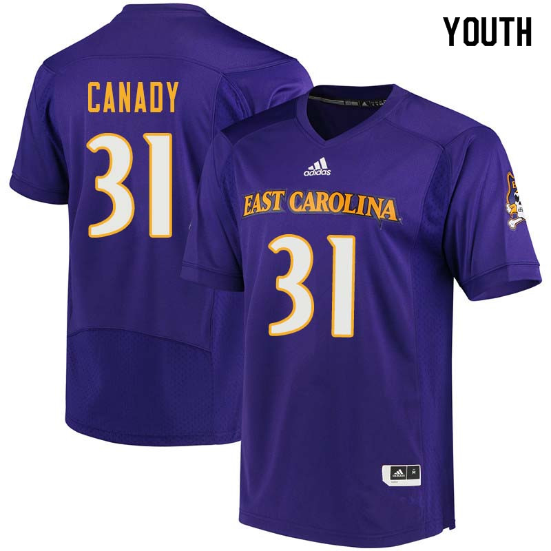 Youth #31 Keyshawn Canady East Carolina Pirates College Football Jerseys Sale-Purple