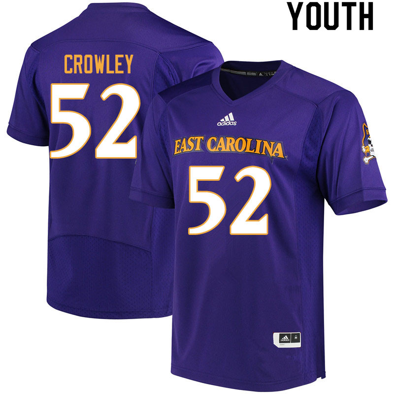 Youth #52 Liam Crowley ECU Pirates College Football Jerseys Sale-Purple