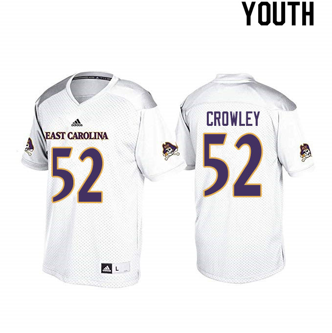 Youth #52 Liam Crowley ECU Pirates College Football Jerseys Sale-White