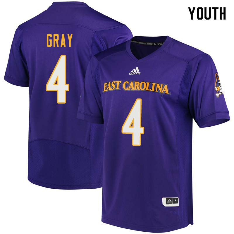 Youth #4 Malik Gray East Carolina Pirates College Football Jerseys Sale-Purple