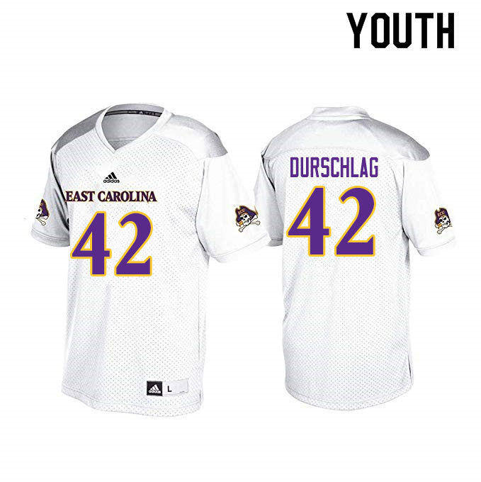 Youth #42 Max Durschlag ECU Pirates College Football Jerseys Sale-White