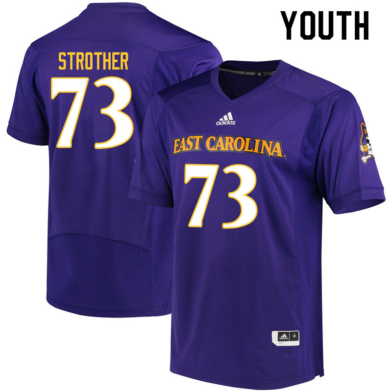 Youth #73 Nishad Strother ECU Pirates College Football Jerseys Sale-Purple