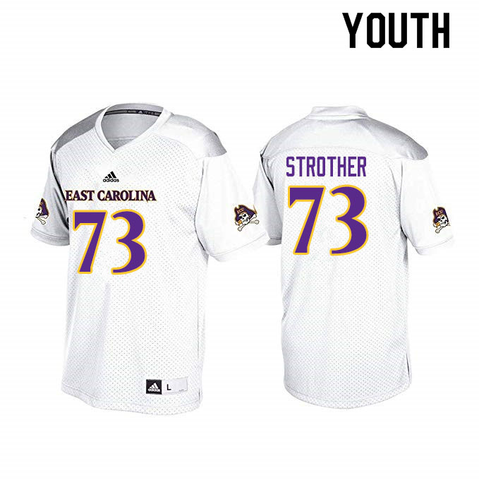 Youth #73 Nishad Strother ECU Pirates College Football Jerseys Sale-White