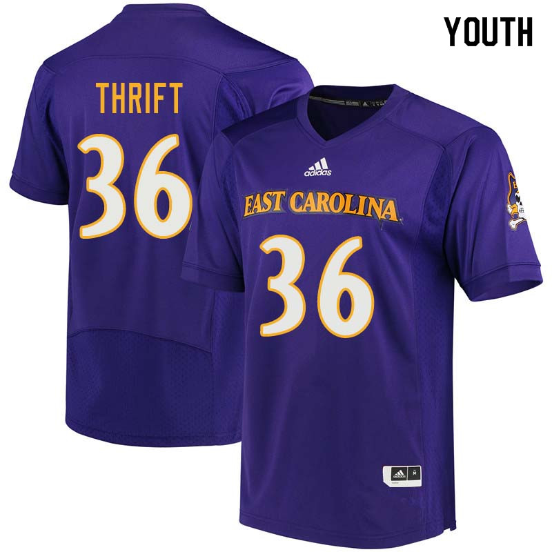 Youth #36 Roger Thrift East Carolina Pirates College Football Jerseys Sale-Purple