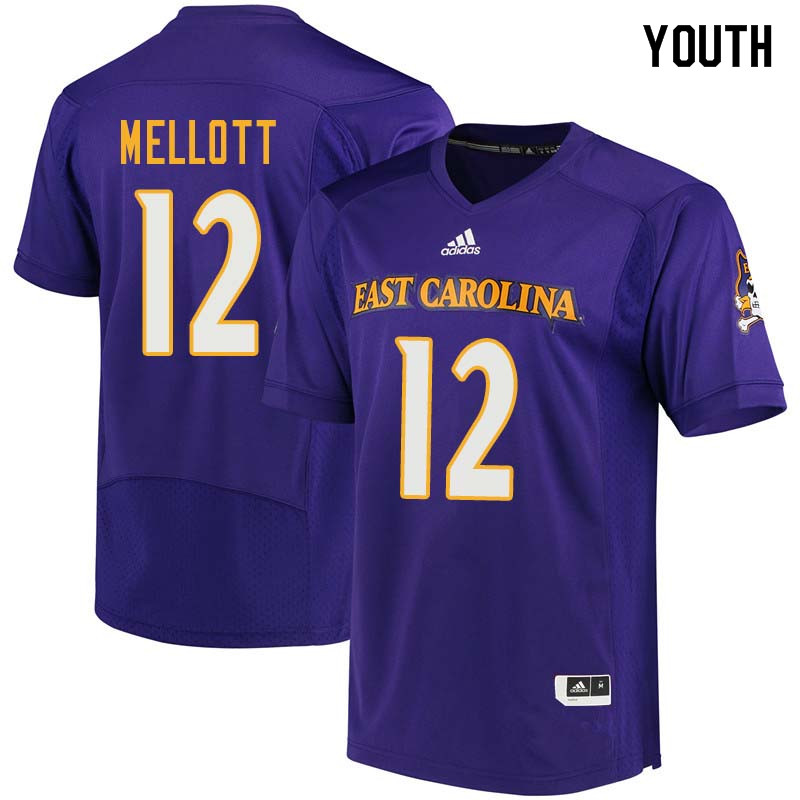 Youth #12 Rowe Mellott East Carolina Pirates College Football Jerseys Sale-Purple