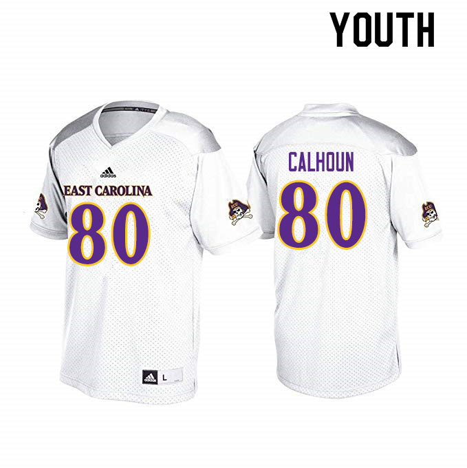 Youth #80 Shane Calhoun ECU Pirates College Football Jerseys Sale-White