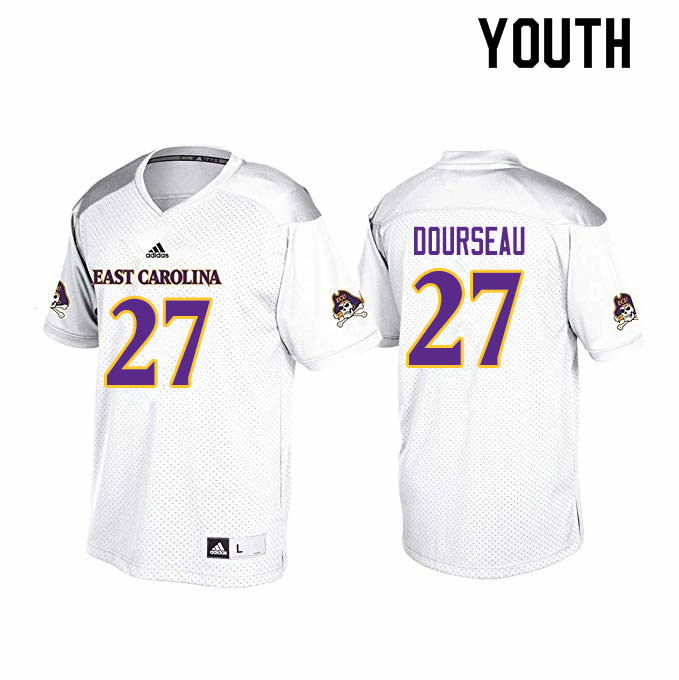 Youth #27 Shawn Dourseau ECU Pirates College Football Jerseys Sale-White