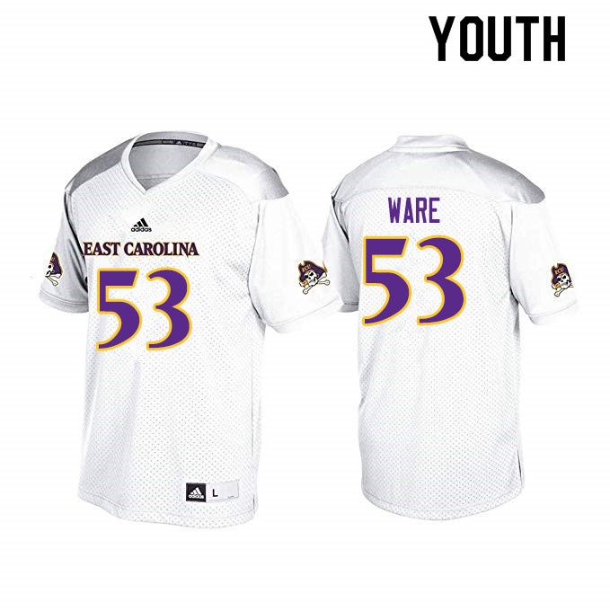Youth #53 Suirad Ware ECU Pirates College Football Jerseys Sale-White