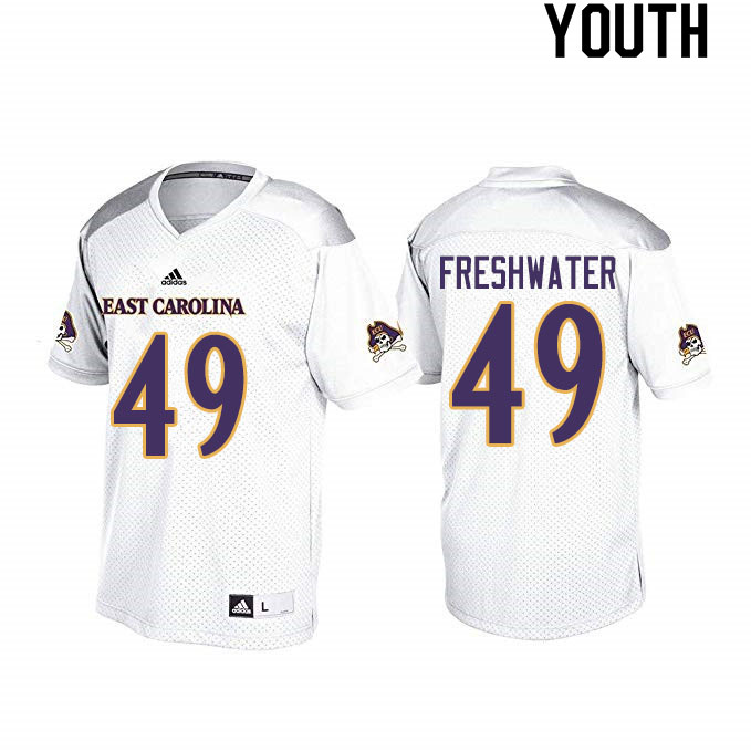 Youth #49 Traveon Freshwater ECU Pirates College Football Jerseys Sale-White