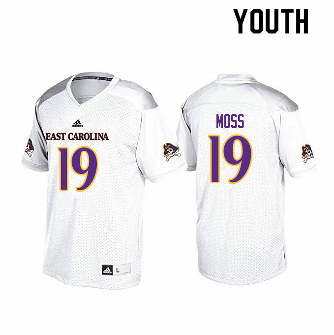 Youth #19 Ty Moss ECU Pirates College Football Jerseys Sale-White