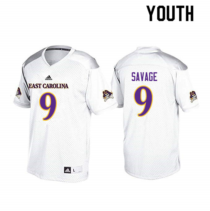 Youth #9 Tyler Savage ECU Pirates College Football Jerseys Sale-White