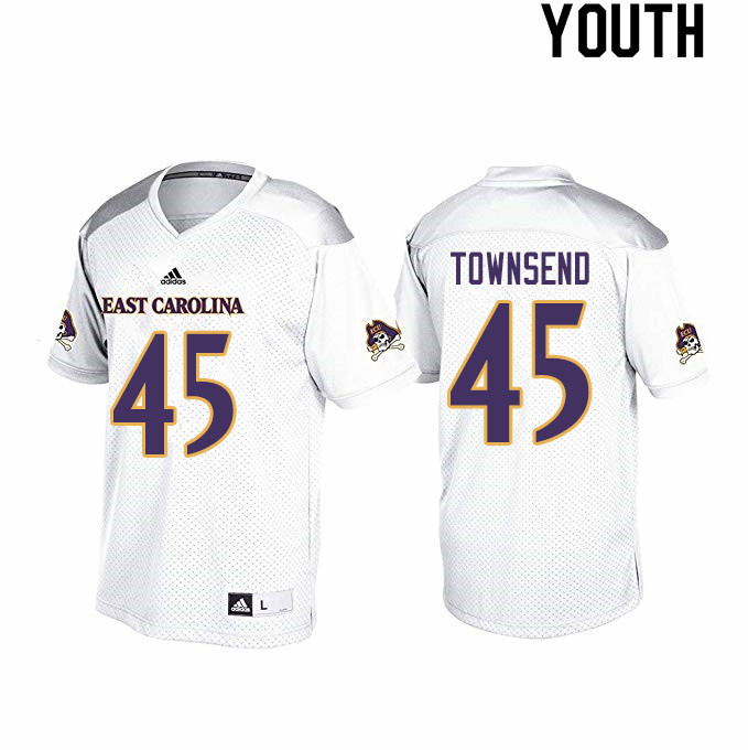 Youth #45 Tyrus Townsend ECU Pirates College Football Jerseys Sale-White