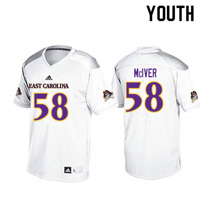 Youth #58 Xavier McIver ECU Pirates College Football Jerseys Sale-White