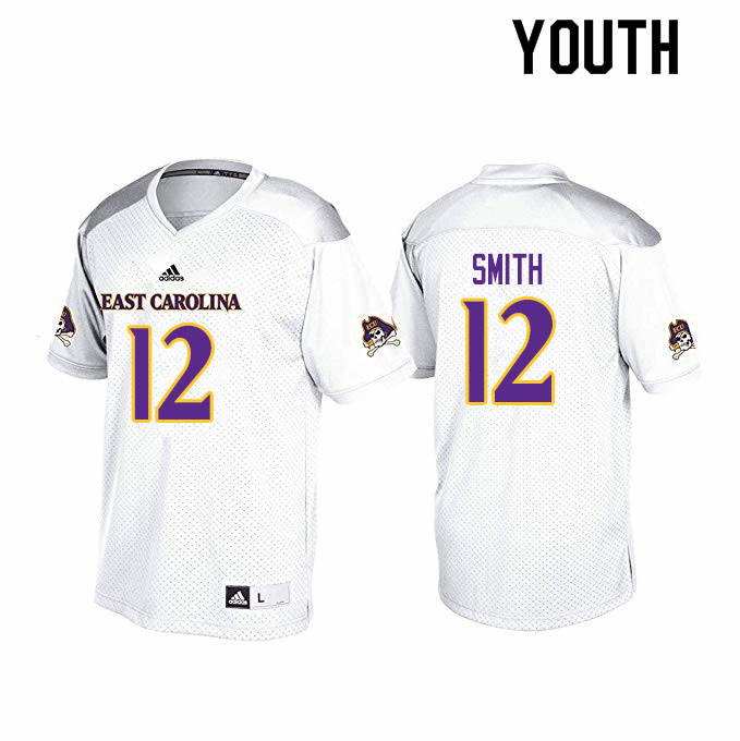 Youth #12 Xavier Smith ECU Pirates College Football Jerseys Sale-White
