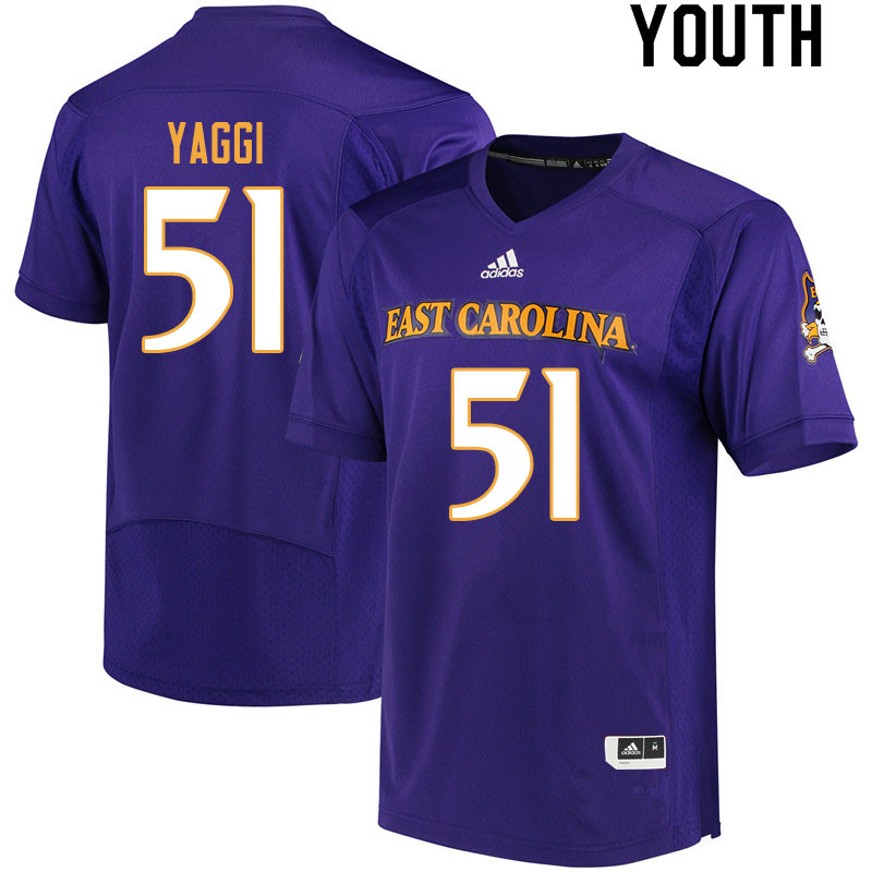 Youth #51 Zack Yaggi ECU Pirates College Football Jerseys Sale-Purple